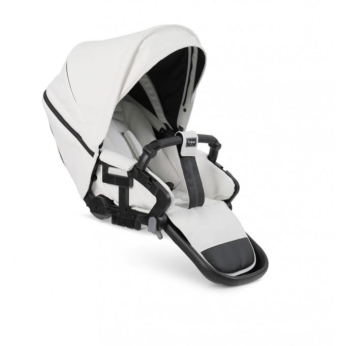 Прогулянкова коляска Коляска Emmaljunga NXT Twin Silver FLAT White Leatherette
